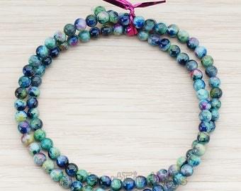 ETC999-01-MB // Mixed Blue Colored Round Artficial Jade Stone, 4mm, 1 Strand