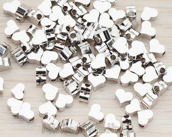 BDS919-01-R // Glossy Original Rhodium Plated Cute Heart Metal Bead, 10 Pc