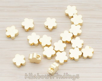 BDS942-01-MG // Matte Gold Plated Small Cloud Flower Metal Bead, 6 Pc