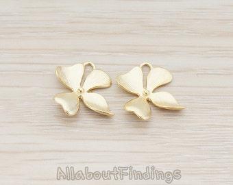 PDT148-03-MG // Matte Gold Plated SMALL Piece Quadruple Flower Pendant, 2 Pc
