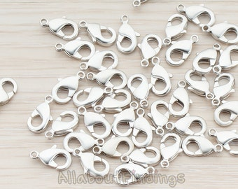 BSC150-MR // Matte Original Rhodium Plated Lobster Clasp, 10 Pc