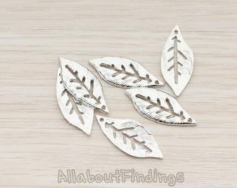 PDT349-R // Glossy Original Rhodium Plated Textured Leaf Pendant, 4 Pc