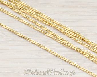 CHN004-G // Glossy Gold Plated Small Flattened Twisted Chain, 1 Meter.