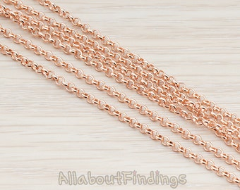 CHN006-RG // Glossy Rose Gold Plated 2.5 mm Rolo Chain, 1 Meter.