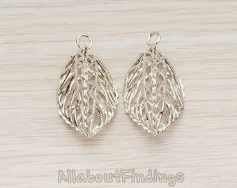 PDT796-R // Glossy Original Rhodium Plated 3D Leaf Pendant, 2 Pc