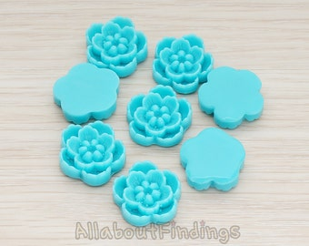 CBC028-TU // Turquoise Colored Chrysanthemum Flower Flat Back Cabochon, 4 Pc