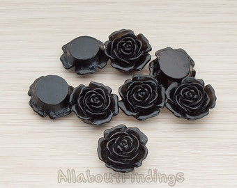 CBC038-BL // Black Colored Mary Rose Flower Flat Back Cabochon, 4 Pc