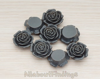 CBC038-DG // Dark Gray Colored Mary Rose Flower Flat Back Cabochon, 4 Pc