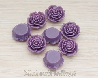 CBC038-PU // Purple Colored Mary Rose Flower Flat Back Cabochon, 4 Pc