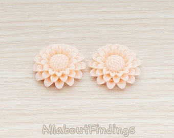 CBC203-PE // Peach Colored Large Sunflower Flat Back Cabochon, 2 Pc