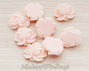 CBC214-01-LP // Light Pink Colored Full Bloom Rose Flower Flat Back Cabochon, 4 Pc