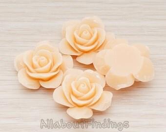 CBC189-PE // Peach Colored Rose Flower Flat Back Cabochon, 2 Pc