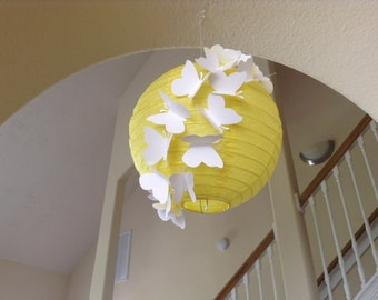 "8"" Hello Yellow, butterfly paper lantern, butterfly birthday, butterfly party, hanging ceiling decor, butterfly decor, wedding lantern,"