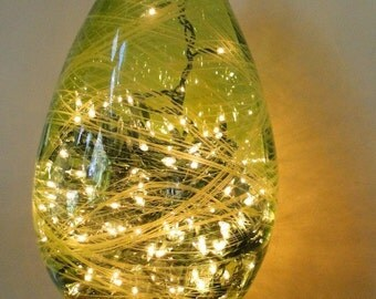 Spanish Big Glass Bottle Lighted with Firefly like Christmas Bulb String
