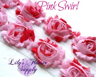 1 Yard - Shabby Flower Trim - Shabby Rose trim - Shabby Flower - Chiffon Flower - Pink Swirl - Shabby Chic - Rose Trim - Wholesale
