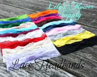 Lace Headband - Set of 10 - Interchangeable headbands - Baby headbands - Stretch Headbands - Wholesale Headbands - YOU CHOOSE COLORS