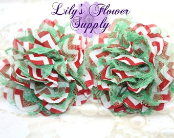 Christmas Lace Flowers - Red Chevron Green Lace - Chiffon Flower - Lace rose - Shredded Lace Flower - Wholesale - Supply - DIY- 3.75 inch
