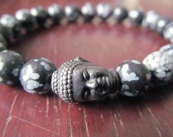 Snowflake Obsidian Buddha Bracelet, Energy Bracelet, Yoga Bracelet, Yoga Jewelry, Mala, Reiki,  Meditation Bracelet, Gift for Men