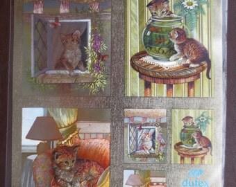 Beautiful kitten Dufex foil 3-D decoupage sheet