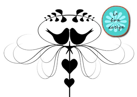 Items Similar To Clip Art Love Birds Vector Wedding Invitation INSTANT DOWNLOAD On Etsy