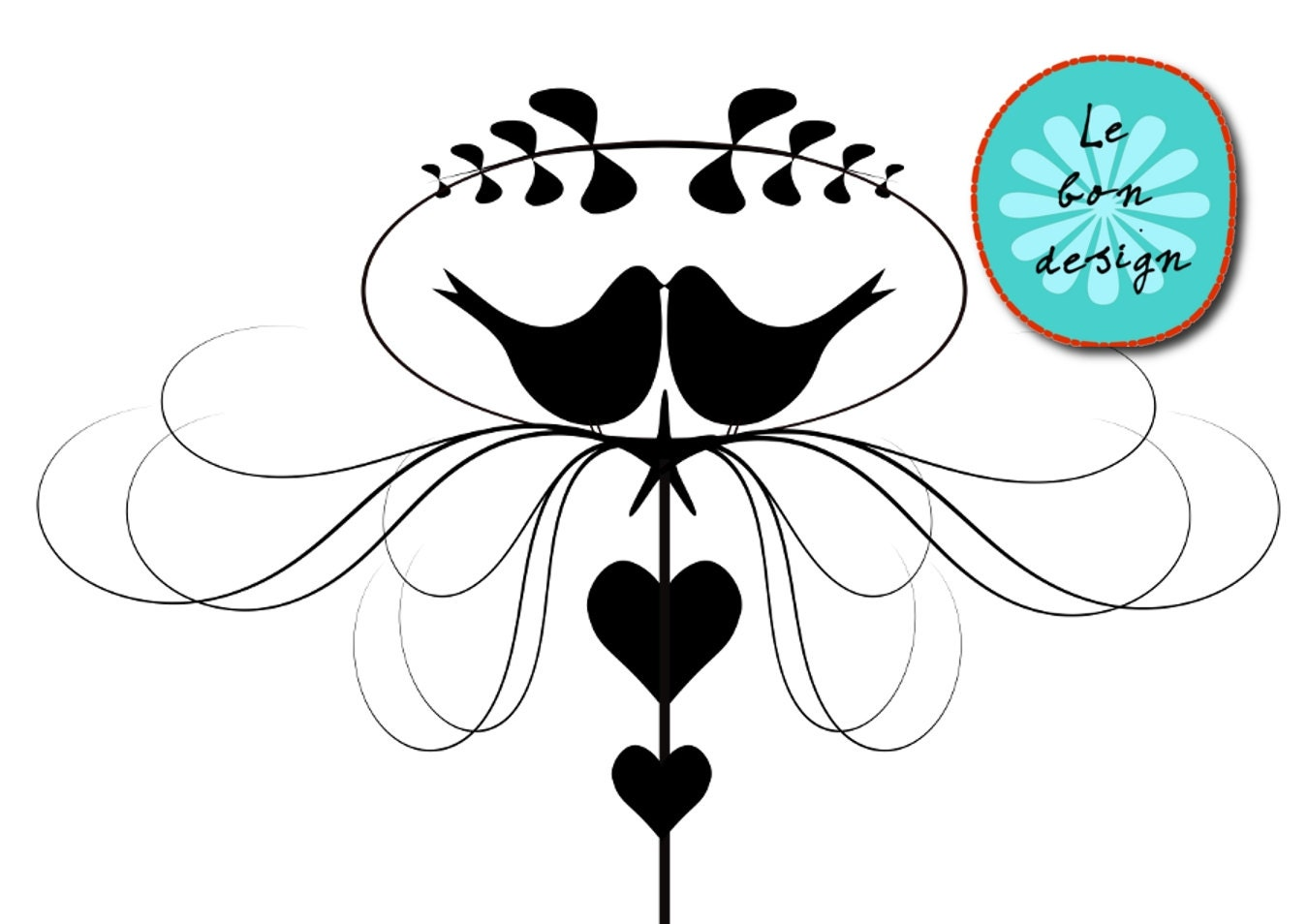 Clip art love birds vector wedding invitation by Lebondesign