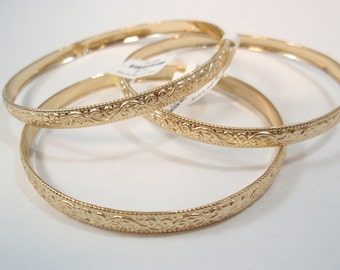 "14K Gold filled tradition Vintage Bracelet cuff bangle SZ 6.5cm 2.6"" israel made tradition Marocco style"
