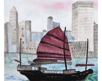 HONG KONG CHINA Chinese Junk Original or Print Unframed Matted Giclee Reproduction Buildings Boat Water Sea Fishing