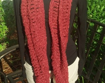 Long, Coral, Boucle Scarf
