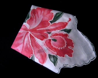 Vintage White Hanky with Pink Floral Print and Embroidered Detail, Wedding Hanky,Flower Girl Hanky.Something Old,Vintage Linen