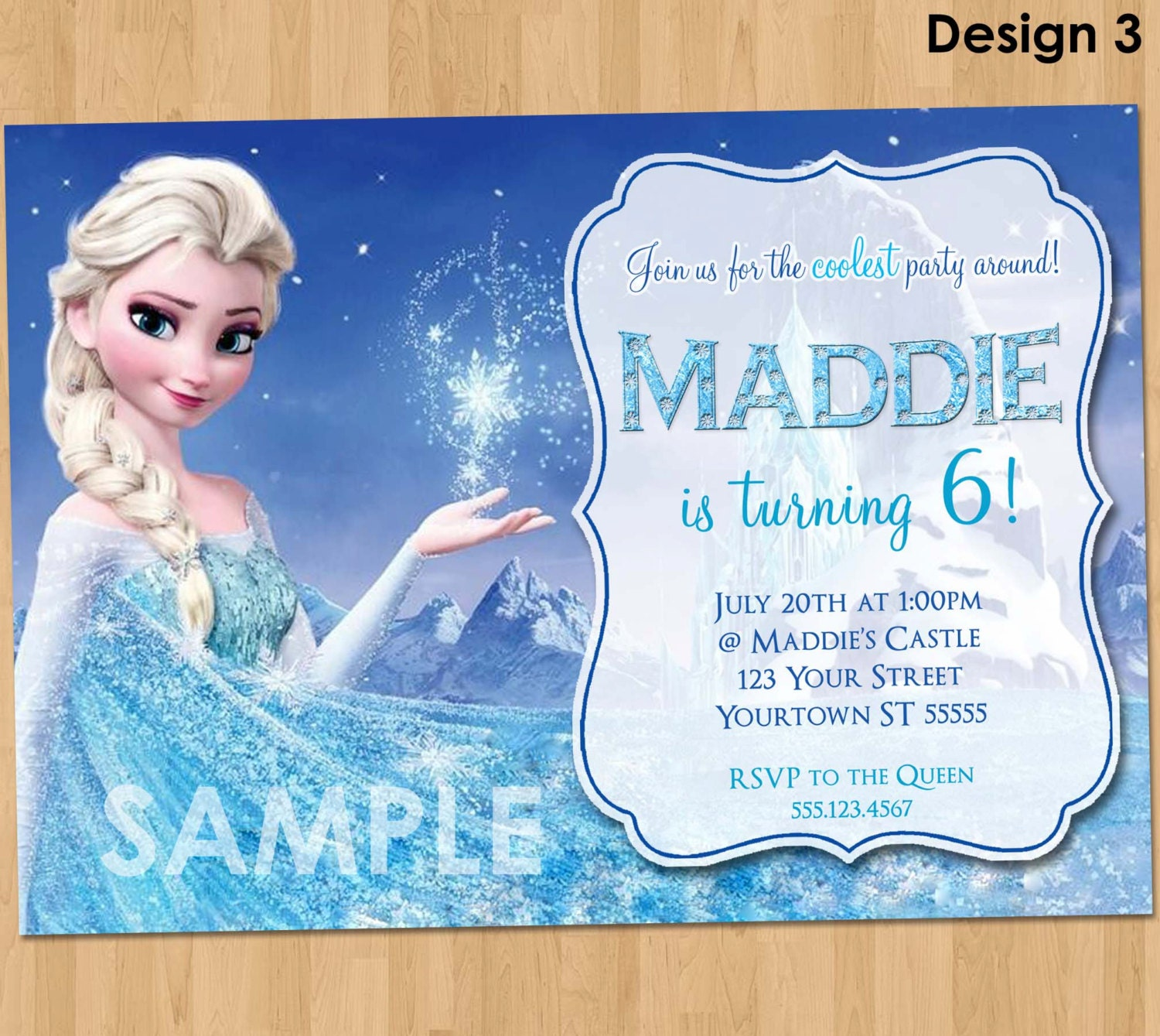 Frozen Birthday Invitation Elsa Frozen Invitation – Personalized Disney Birthday Invitations