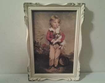 Vintage Cream and Gold Framed Boy and Dog