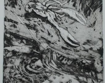 Muzy.  Aquatint and drypoint etching,Crawdad Exoskeleton