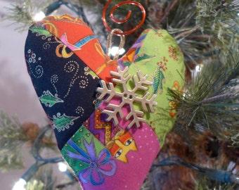 Handmade Christmas heart ornament
