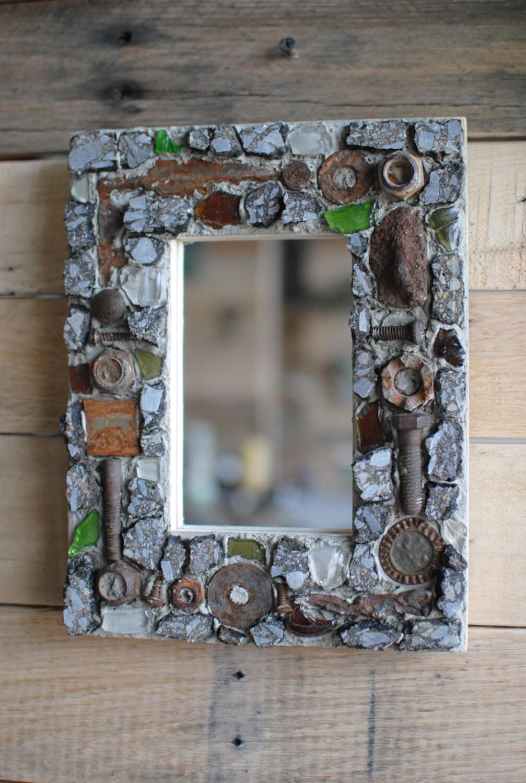 mosaik kunst spiegel gestell aus aufgearbeiteten metall glas. Black Bedroom Furniture Sets. Home Design Ideas