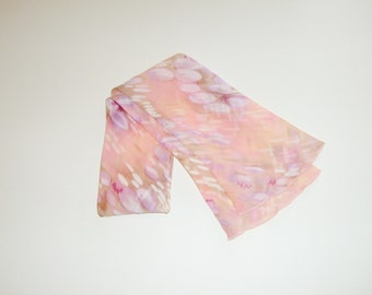 Vintage 70s Pastel Tube Scarf - Peach and Lavender - Fluted Edges - Gift Under 20