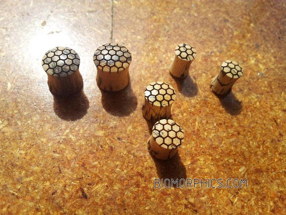 Laser Engraved Honeycomb Plugs/Gauges - Sacred Geometry - Healing