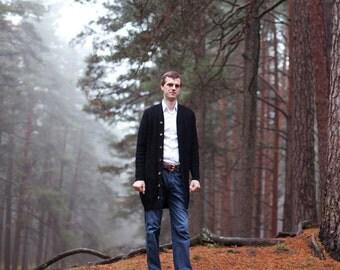 Men's lambswool long Cardigan with handmade oak buttons/jacket with pockets/sweater cardigan/winter/plaits/jumper/vest/black/gray/woolen