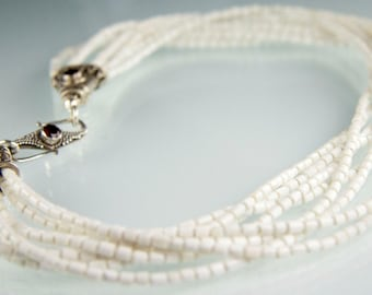 Casablanca Necklace - White shell heishi with glass beads and Sterling Silver clasp