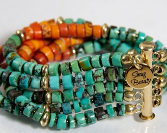 Dog Days of Summer Bracelet - turquoise, dyed shell, 18k gold and glass