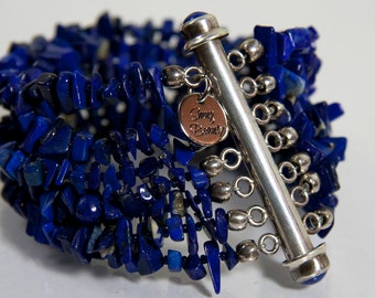 Friendship and Truth Bracelet - lapis and sterling silver