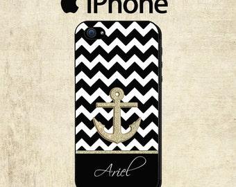 Monogram iPhone 6 Case - Anchor iPhone 5C Case  - Black Chevron iPhone Case - iPhone 4 Case - iPhone 5 Case - Personalized iPhone 5S Case