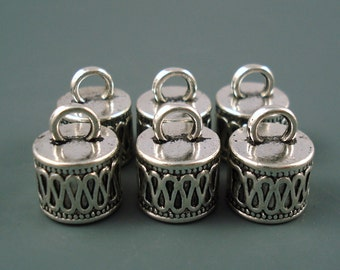 7.5MM End Cap, SIX Silver Caps for Leather or Cord (CAP75-01)