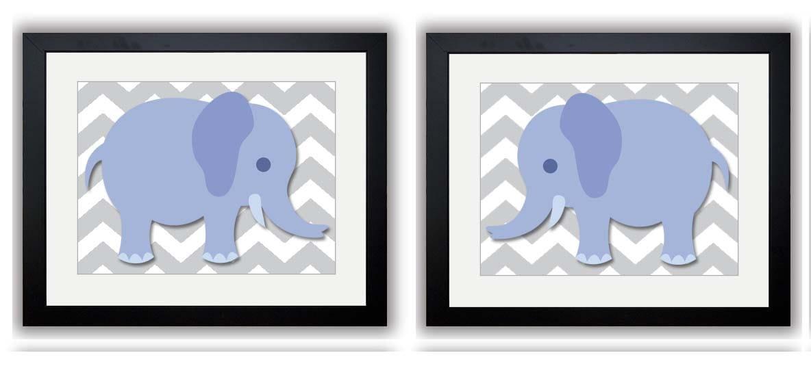 Elephant Nursery Art Nursery Print Set of 2 Elephants Blue Grey Child Art Prints Boy Kids Room Wall