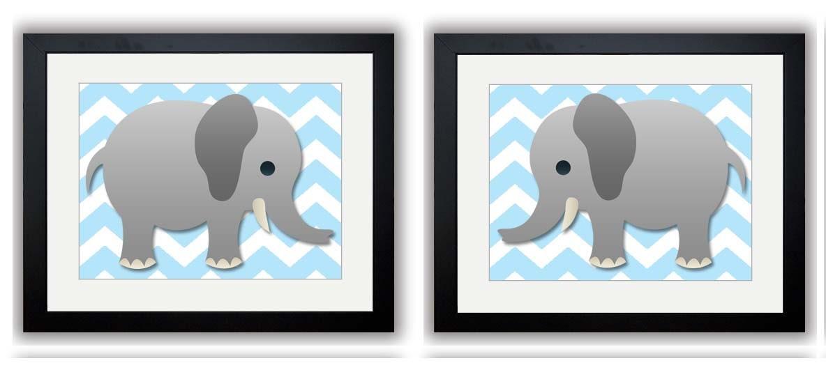 Elephant Nursery Art Nursery Print Set of 2 Elephants Blue Chevron Grey Child Art Prints Boy Kids Ro