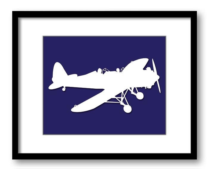 White Airplane Plane Navy Blue Background Boys Kids Room Wall Art Print Boys Art Nursery Art Nursery