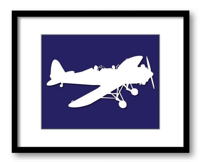 White Airplane Plane Navy Blue Background Boys Kids Room Wall Art Print Boys Art Nursery Art Nursery
