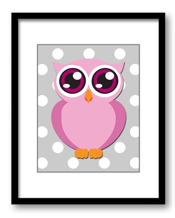 Pink Owl Nursery Art Nursery Print Nursery Grey Polka dots Decor Child Baby Art Print Girls Pink Kid