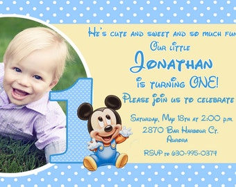 Mickey Mouse First Birthday Party Invitation - Printable or Printed