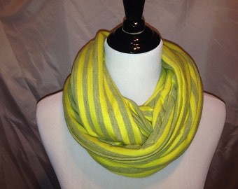 Infinity Scarf- yellow and gray stripe