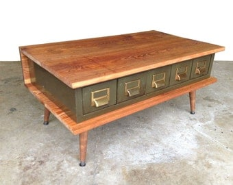 Reclaimed wood metal catalog drawer coffee table
